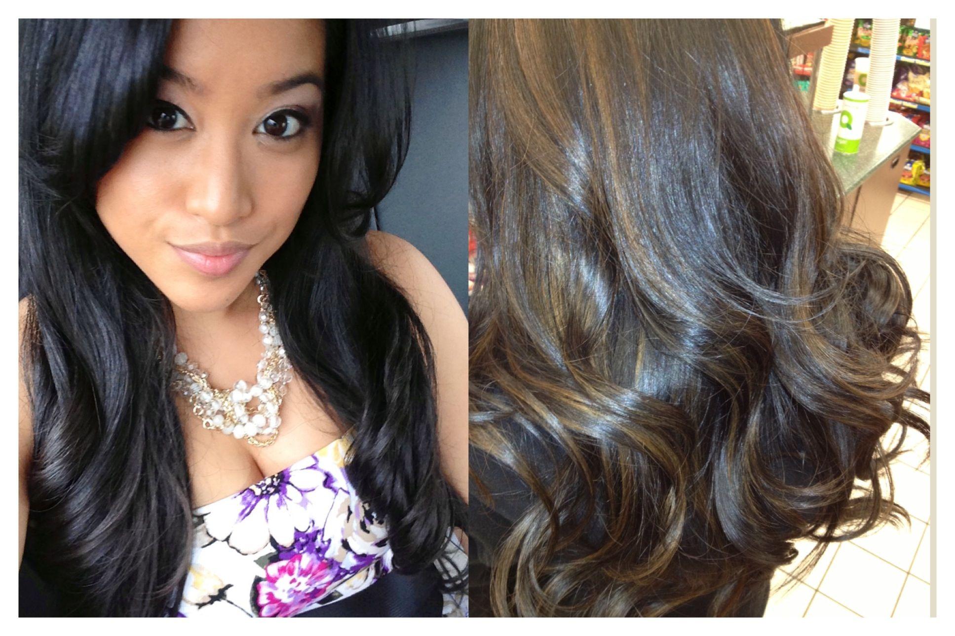 Bye Bye Natural Jet Black Hair Hello Caramel Highlights For The Summer Hair Beauty Lighter Hair Hair