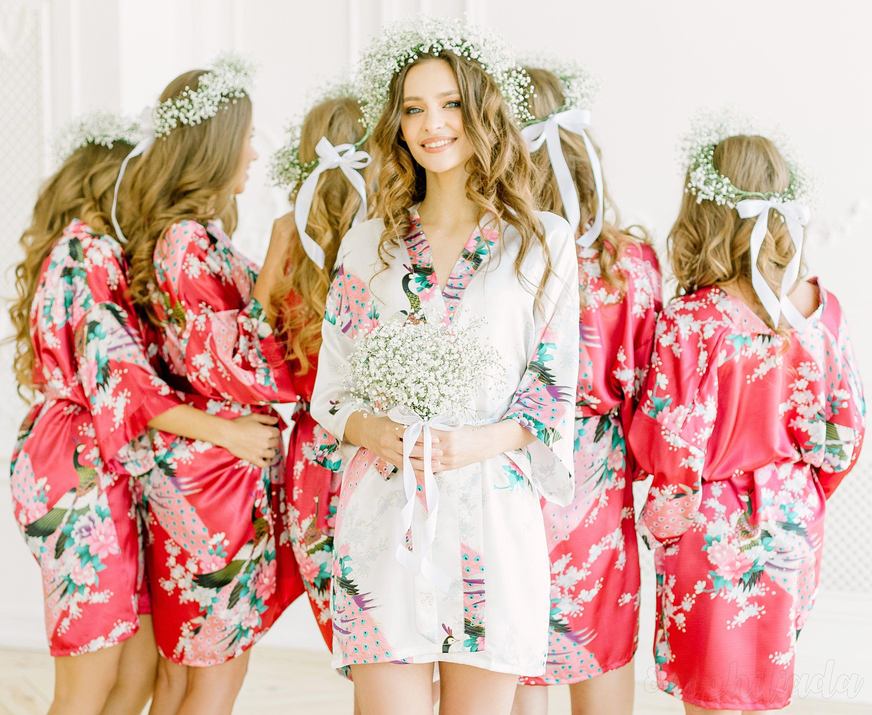 EXCLUSIVE Bridesmaid Robes Satin Lace, Bridal Robe