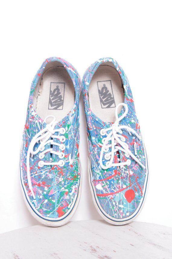 af8844baa3 Custom Made Splatter Painted Vintage Vans Boat Shoe Sneakers Adult Size 7  1 2