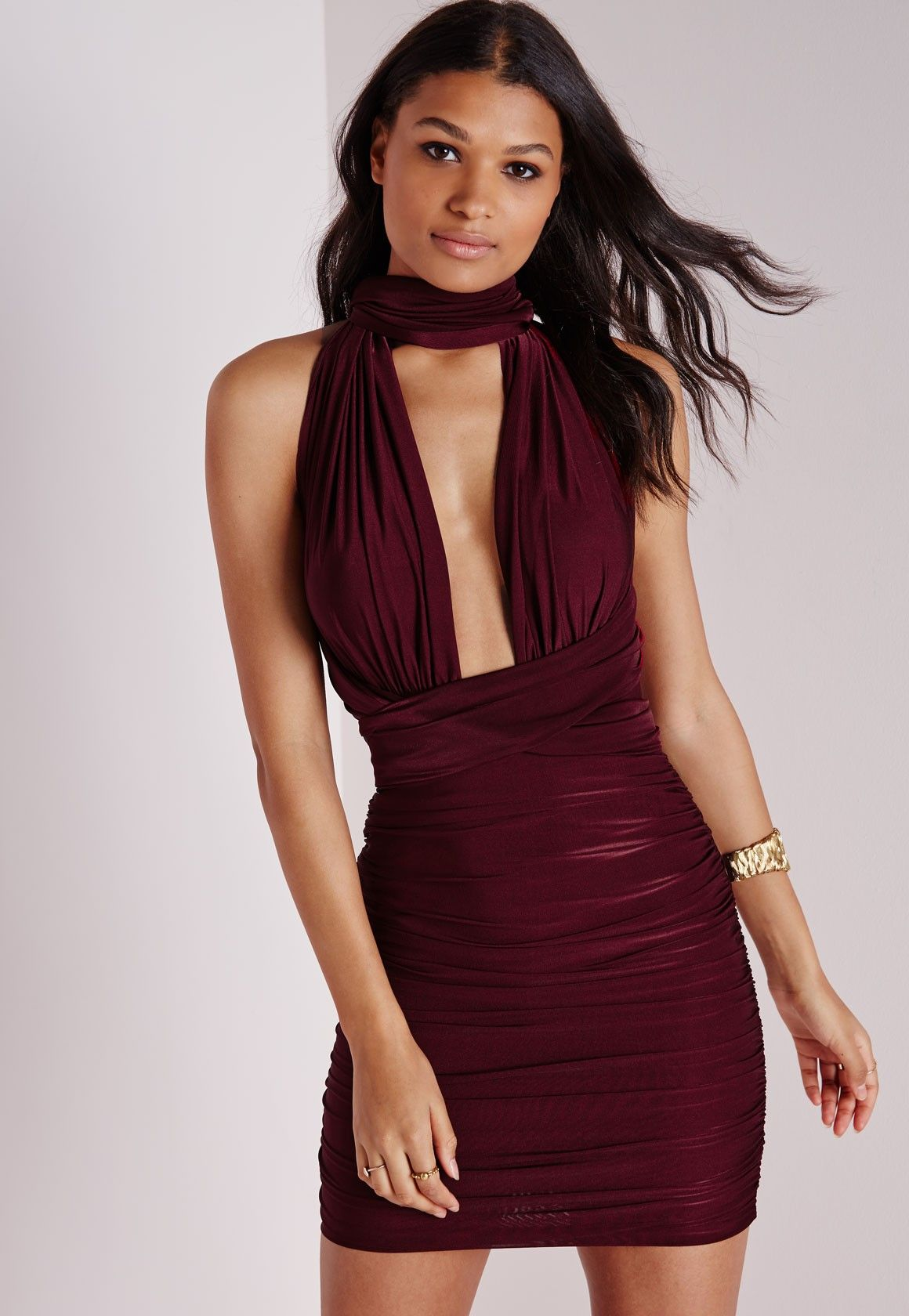 ddc6964c55 Missguided - Do It Any Way Multiway Slinky Bodycon Dress Burgundy ...
