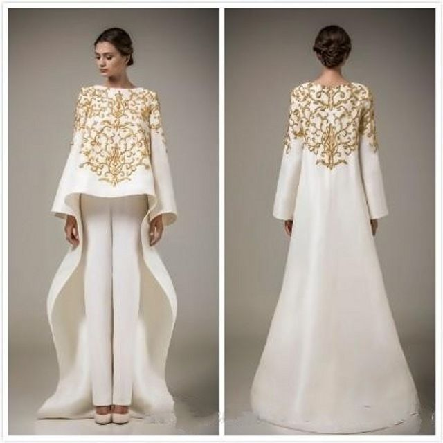 Gorgeous Ivory Middle East Evening Dresses With Pants Gold Embroidery Prom Dress Vestidos De Festa Custom Made Formal Gown