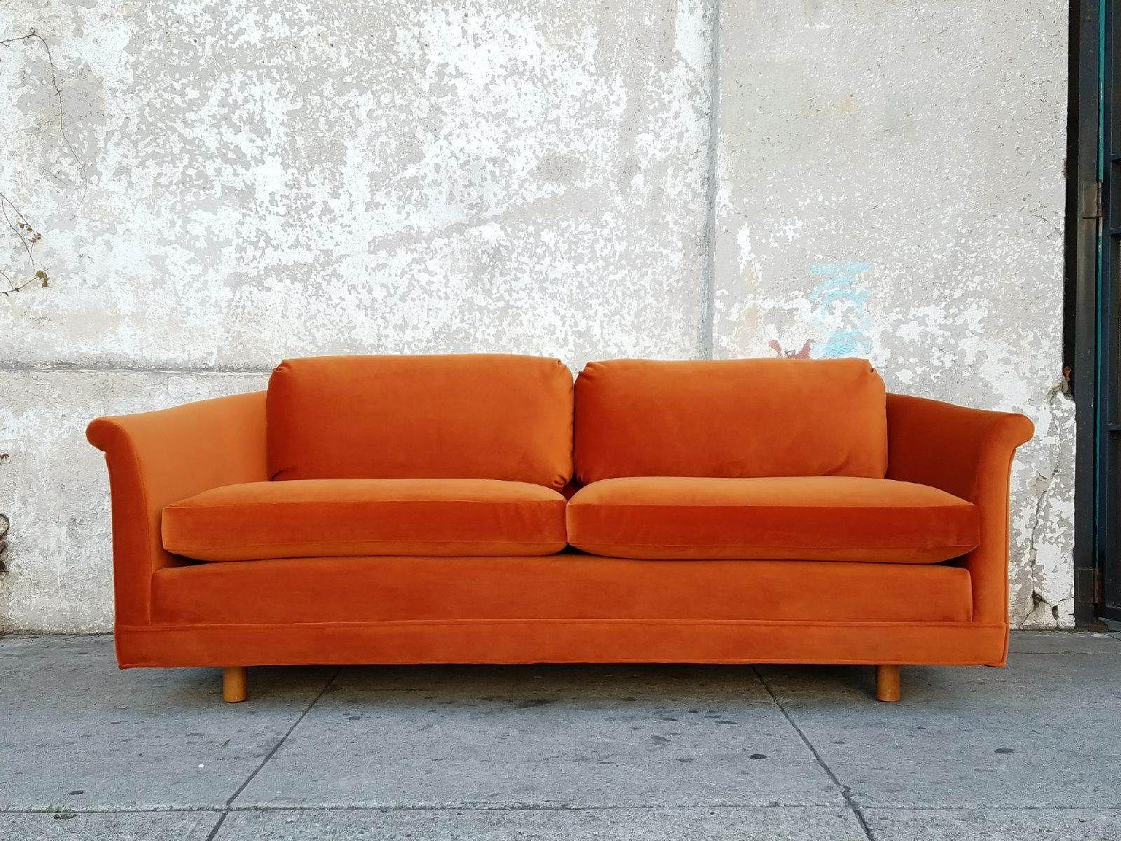 Orange Corral Deep Velvet Vintage Sofa Reupholstered 71 L X 33 W X