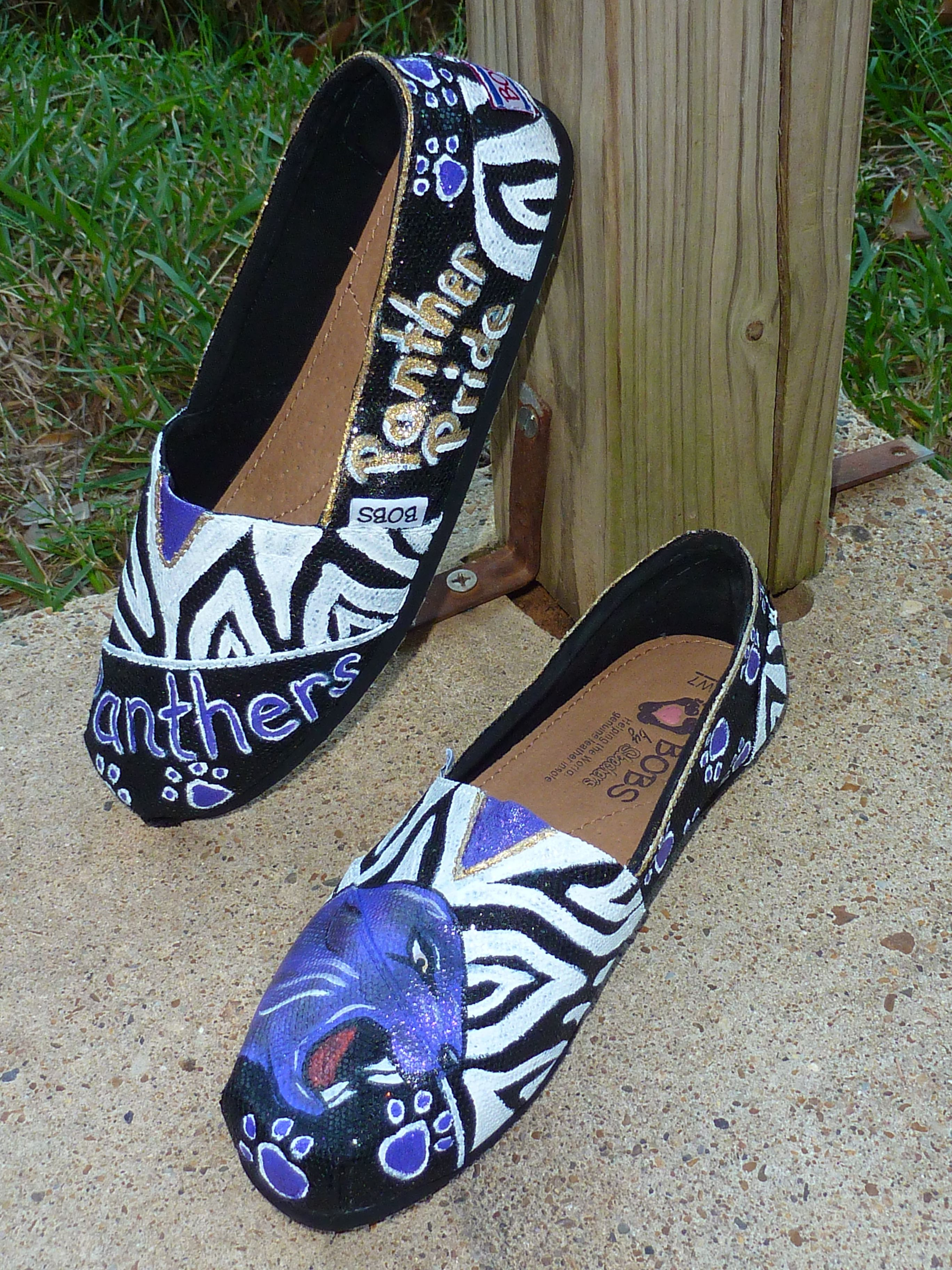 Hand painted Spirit Shoes on black sparkle Bobs  bec03c6a7