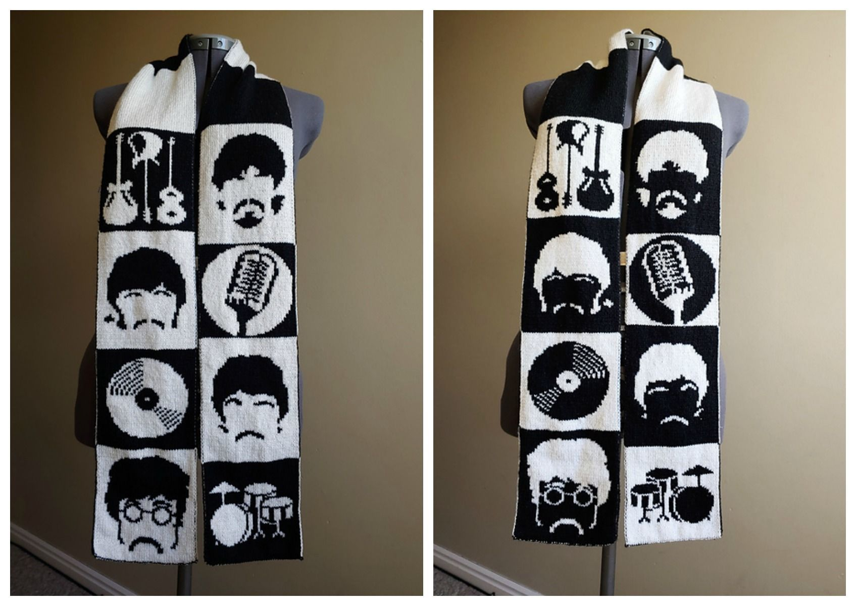 Photo of Double-Knit 'All You Need Is Yarn' Beatles Scarf Designed By Tess Campbell