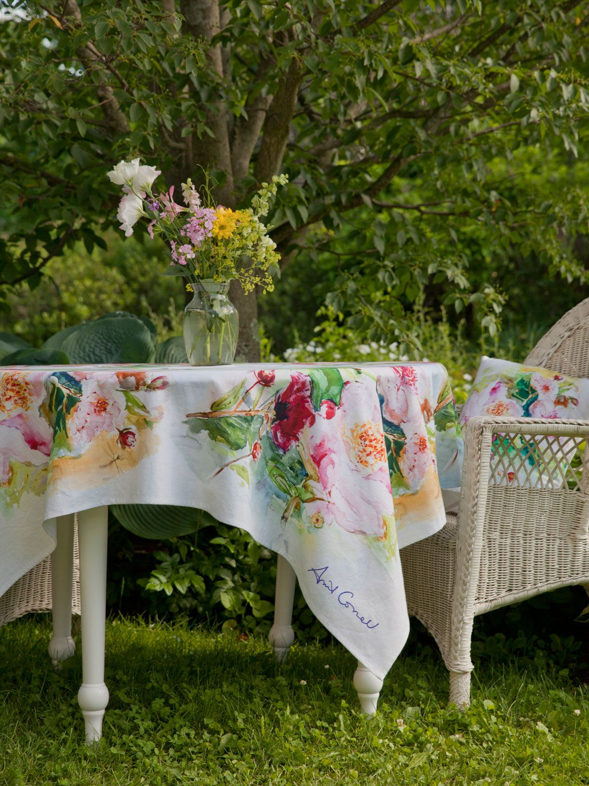 peony watercolor tablecloth winslow homer nature inspired and