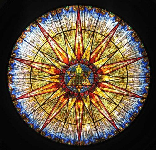 Dome window in Temple Emanuel in Paterson, NJ. Designed by Fred Wesley Wentworth. Photo via pressvision.