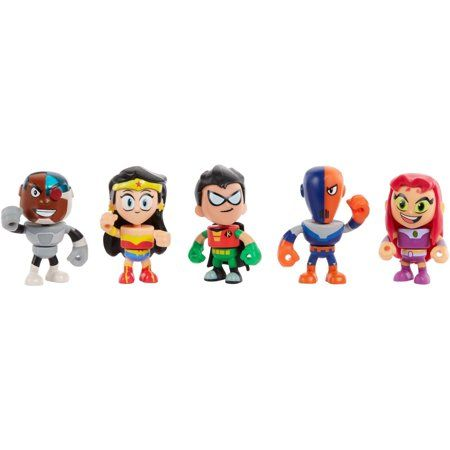 6cd5e7180 Teen Titans Go! to the Movies Mini Figures Cyborg, Wonder Woman, Robin,  Slade, Starfire 5-Pack