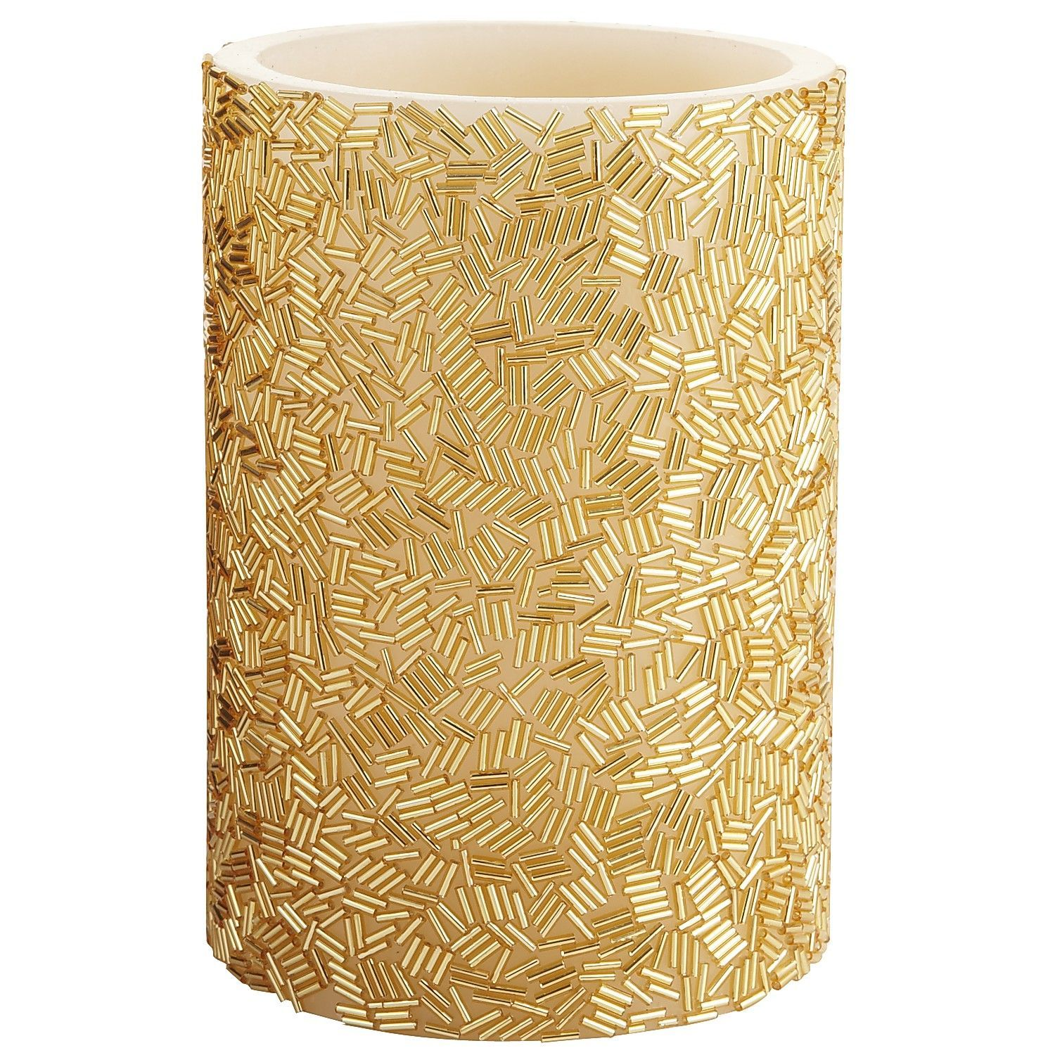 Gold Charms Beaded LED Candle