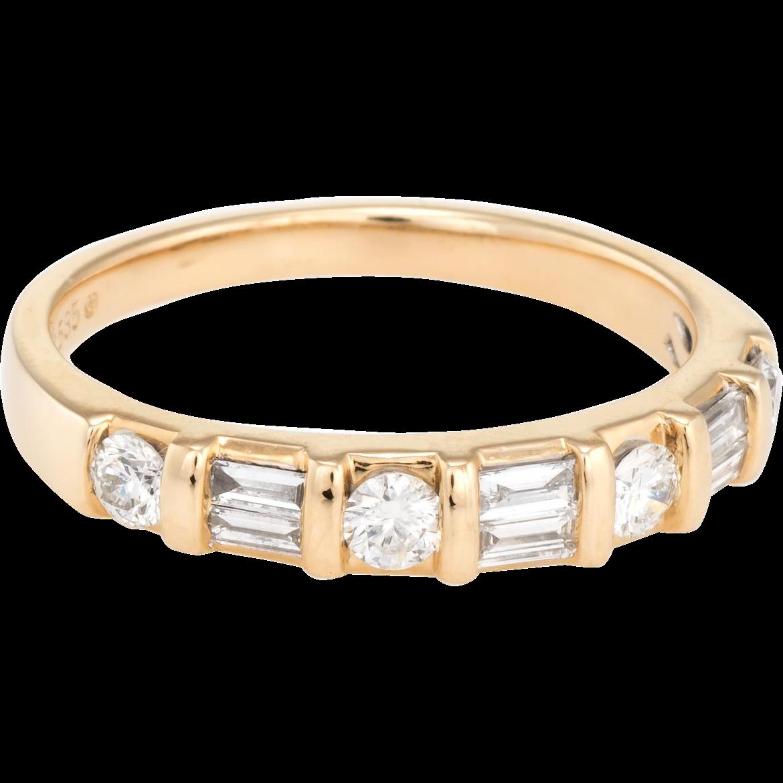 Mixed cut diamond band ring vintage karat yellow gold estate fine
