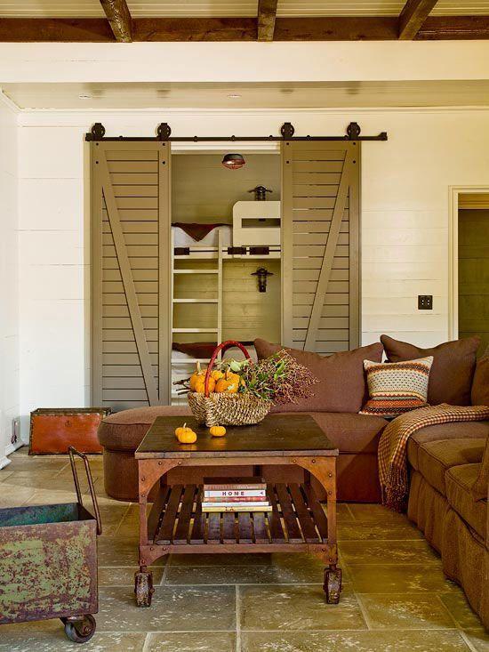 Bunk Beds Shutter Doors Livingroom Living Pinterest