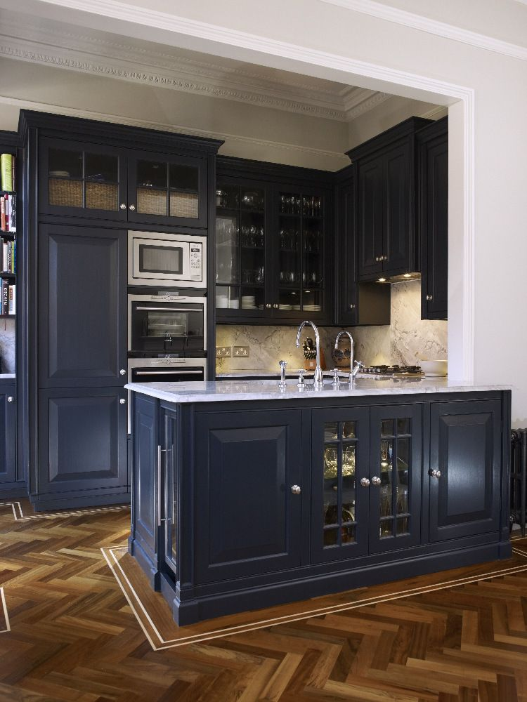 classic and moody  home kitchen decor navy kitchen