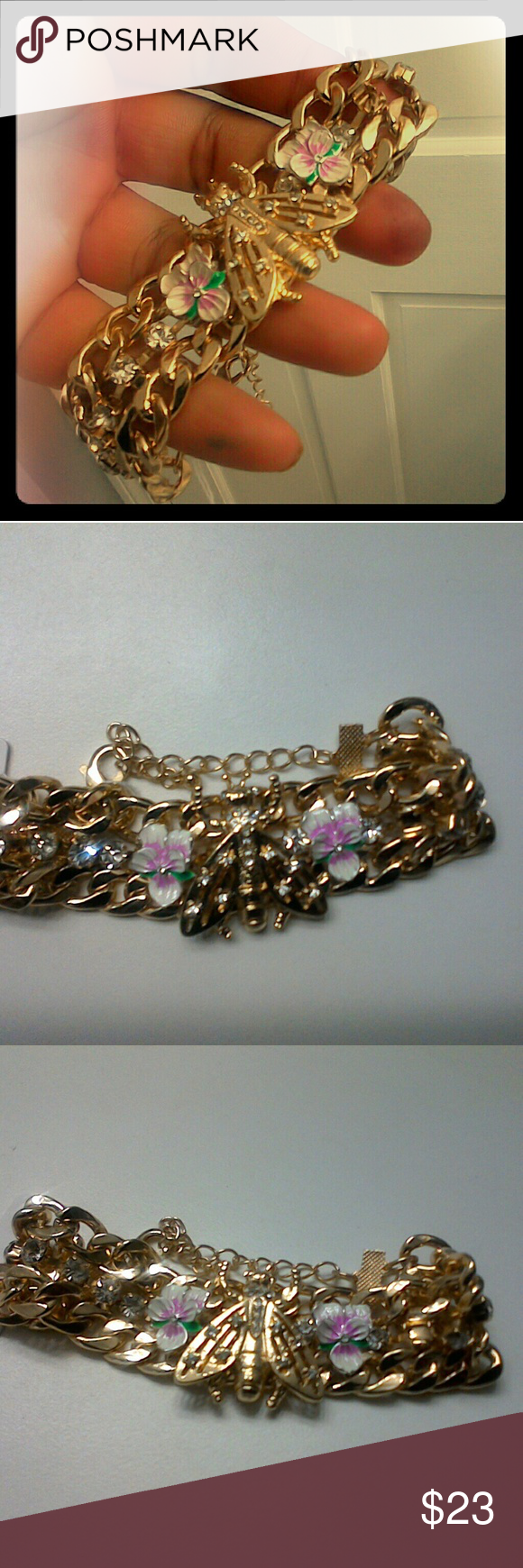 Gold chain bracelet with bee and flower design same as title