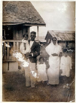 An indentured family in Plantation Leonara, Guiana. Courtesy Rajkumari Cultural Center.