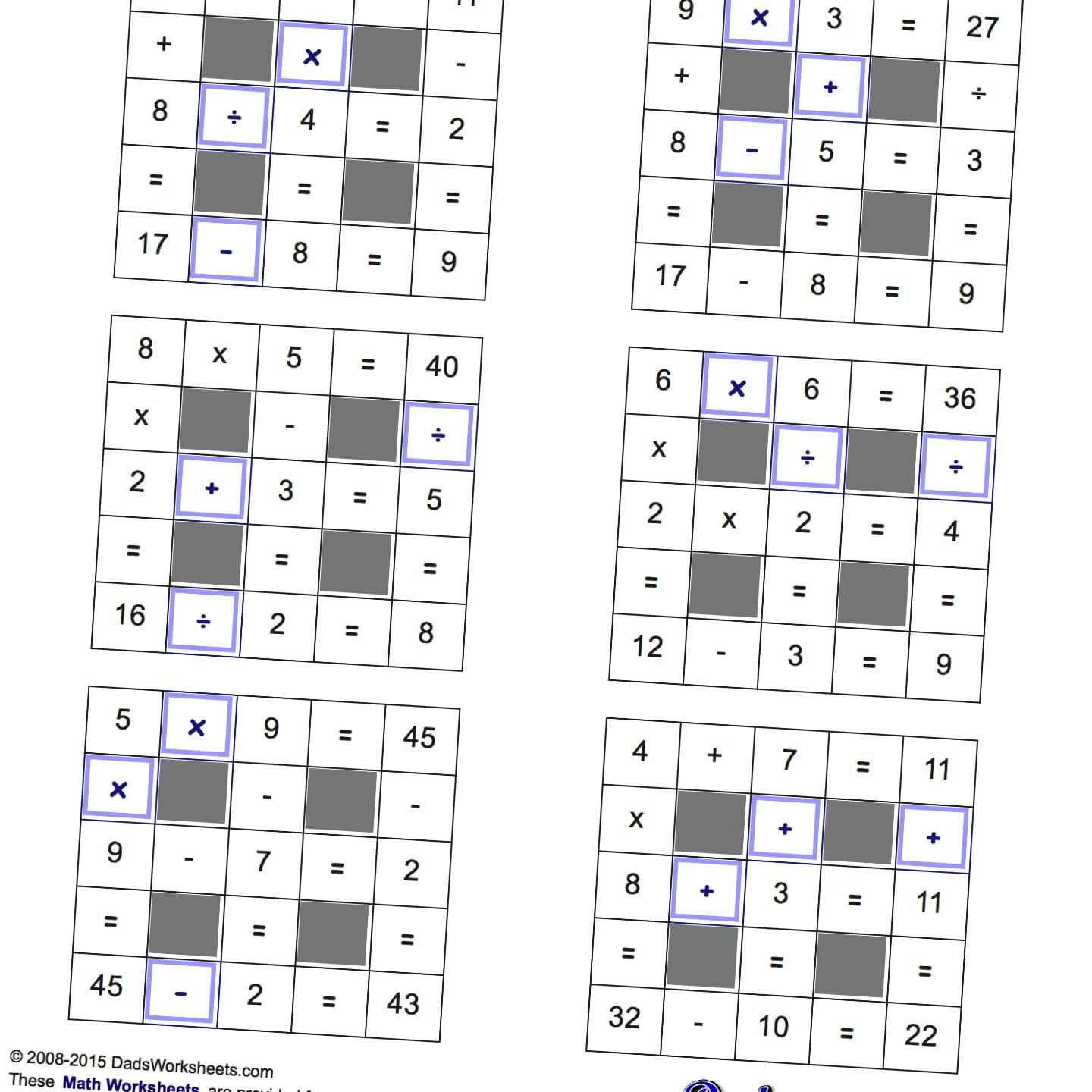 Grid Puzzles All Operations With Missing Operations Small Math