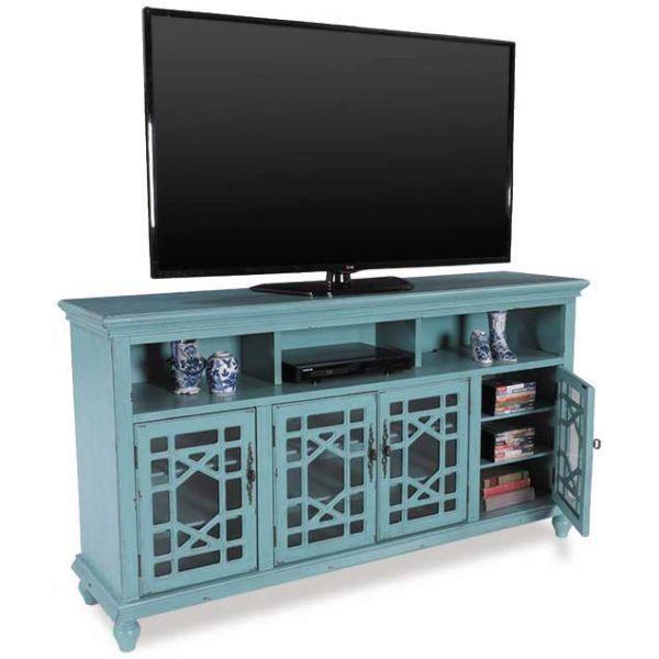 Picture Of 72 Inch Blue Rustic Curio Tv Console