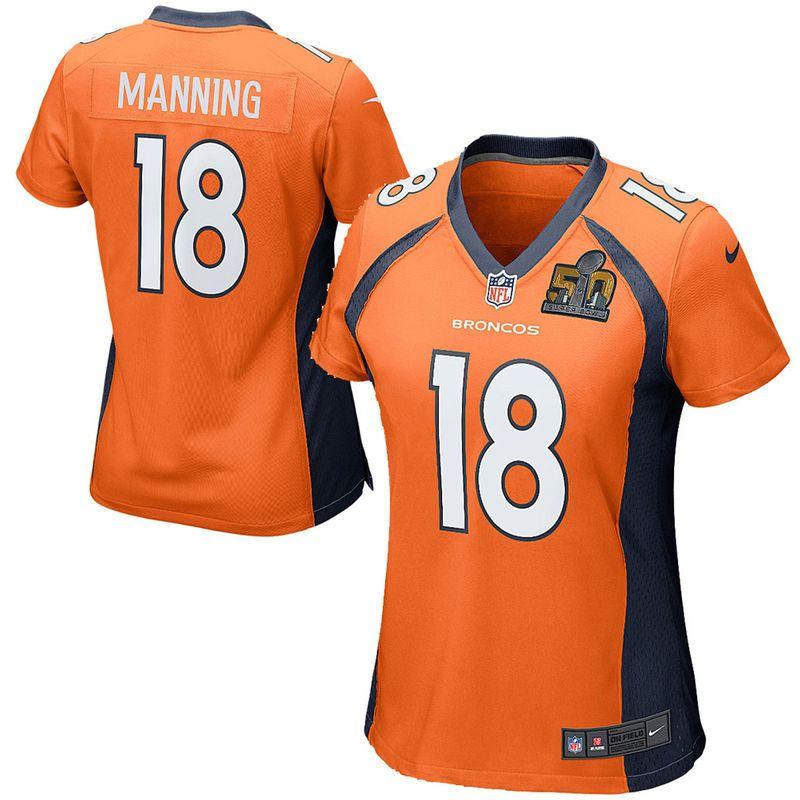 official photos 39c40 1cf76 Peyton Manning Denver Broncos Nike Women's Super Bowl 50 ...