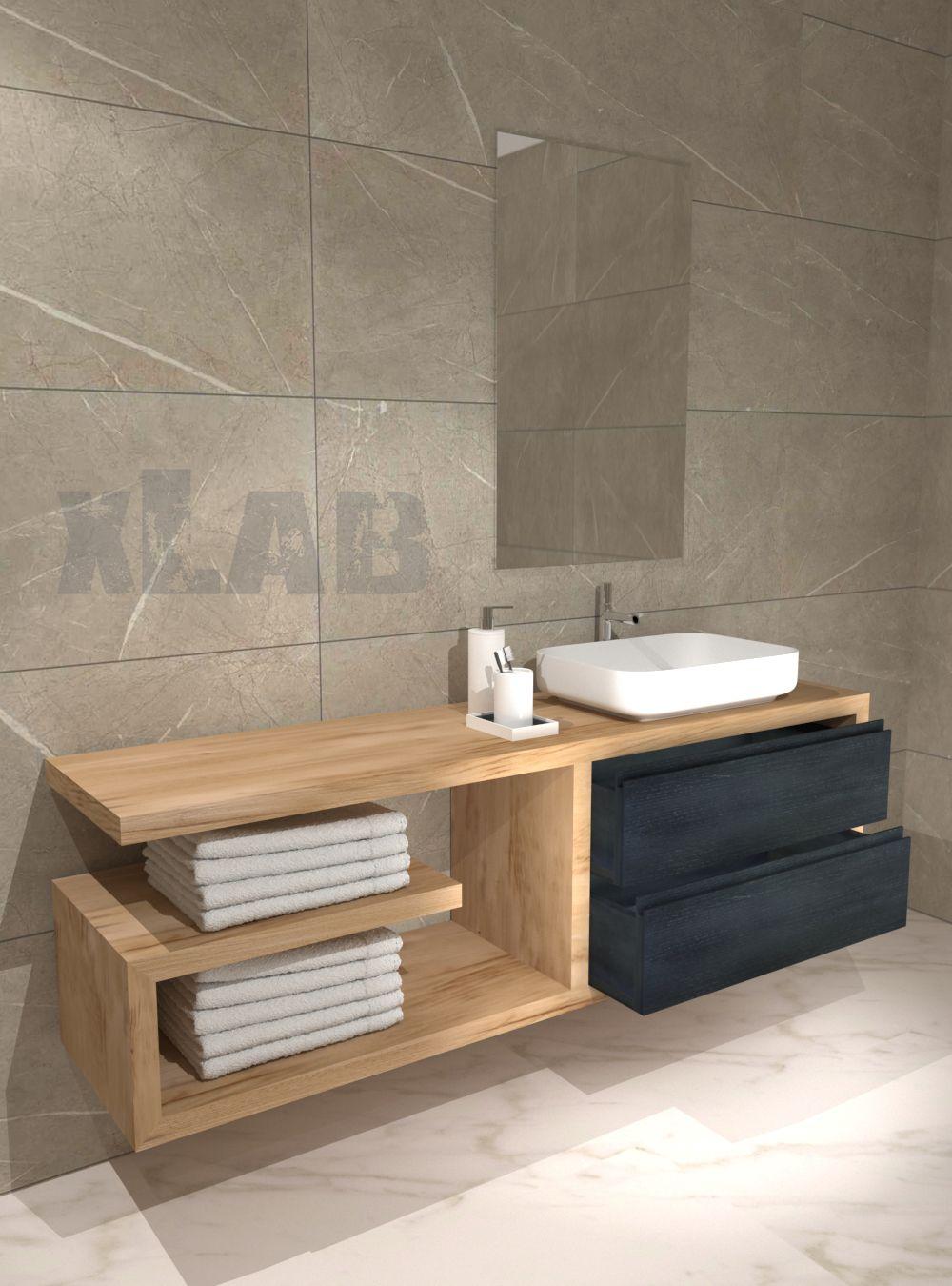 Armadietto Bagno Moderno mobile bagno sospeso con doppio cassetto columbia (con