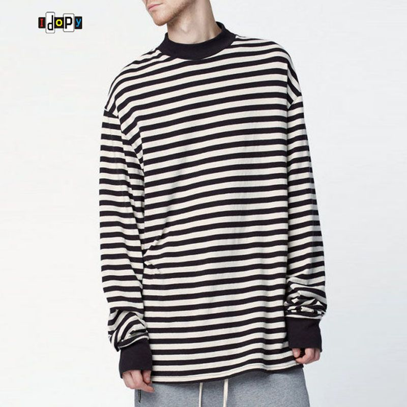 Fashion Men's Oversized Hoodies Plus Size Street White Black Striped Loose  Baggy Hoody Long Sleeve Hoodie
