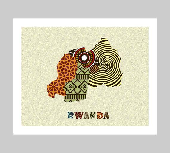 Rwanda Map Art Print Wall Decor, Rwanda Poster, Kigali Rwanda African Art Print, African Map, Africa, Rwanda, Rwandese East Africa AVAILABLE @ $15