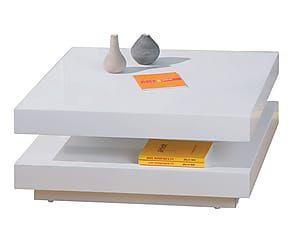 Tavolino quadrato con 2 piani girevoli in mdf Dotty bianco - 75x30x75 cm