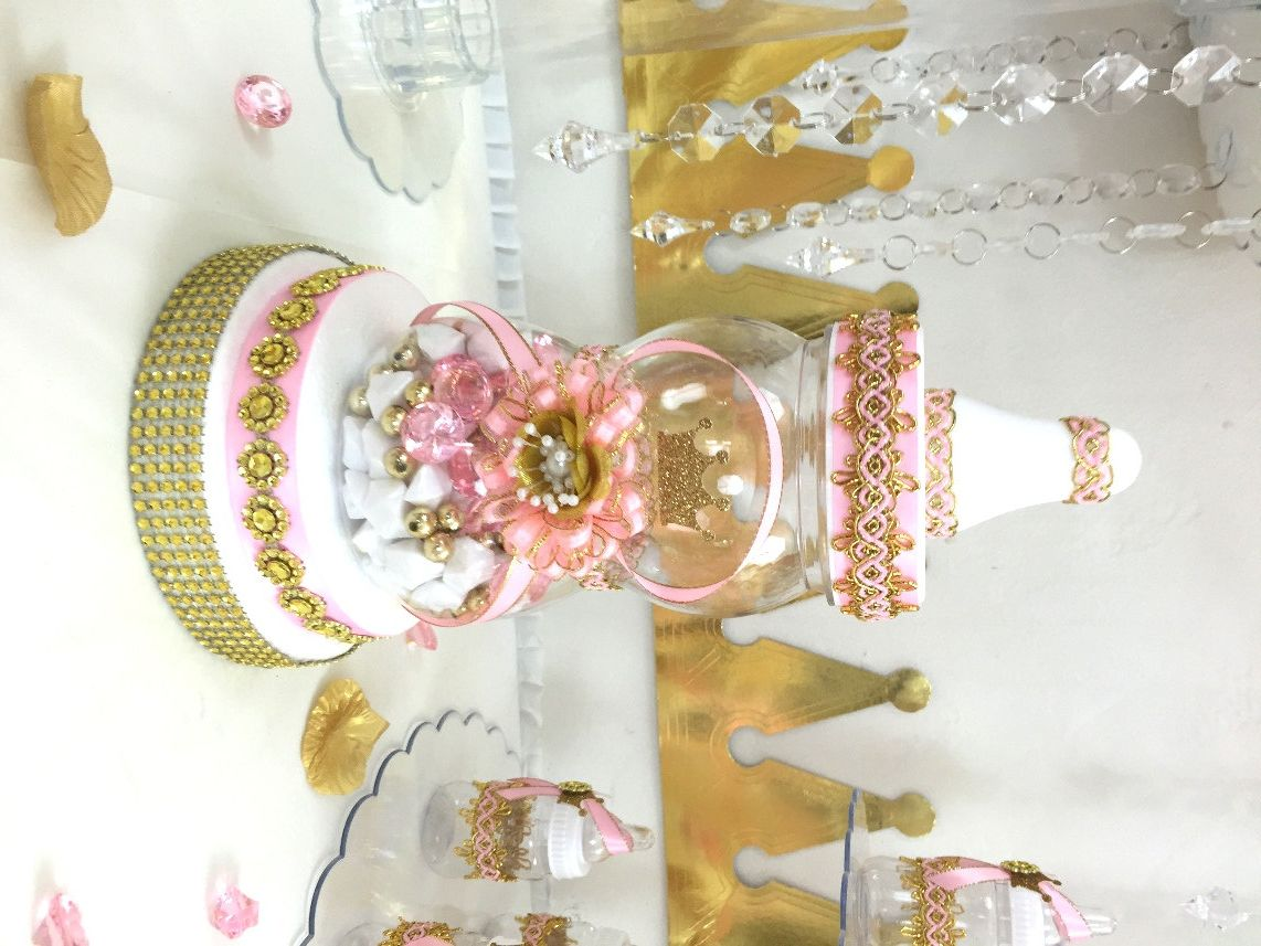 Pink and gold baby shower centerpiece for girls princess