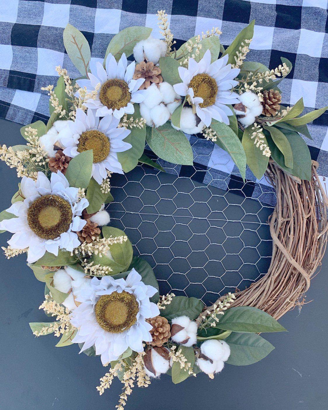 Photo of Sunflower wreath with chicken wire-autumn wreath-summer wreath-sunflower wreath-farmhouse wreath-rustic home decor-flower wreath-farmhouse