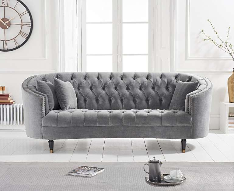 Seine Grey Velvet 3 Seater Sofa 2 Seater Sofa Sofa Comfortable Sofa Bed
