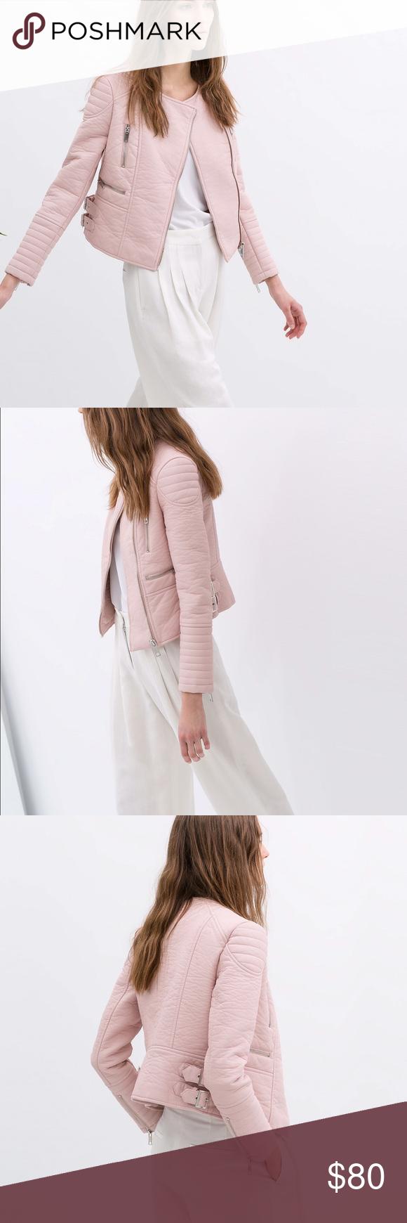 ZARA Pink Leather Moto faux Jacket, Size S💖 Faux jacket