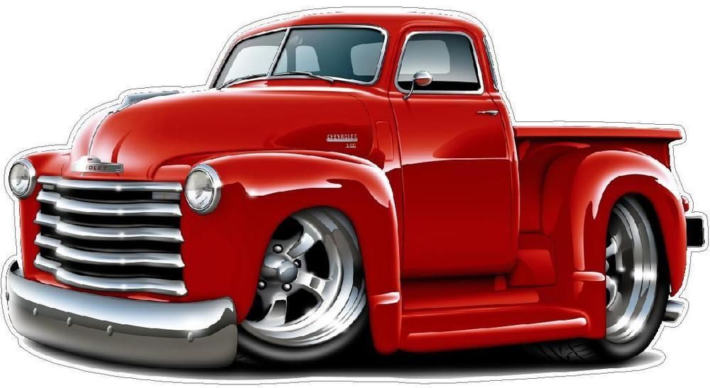 1950 1952 Chevy Truck Cartoon Wall Decal Garage Graphics By Fatcat Man Cave  Art |