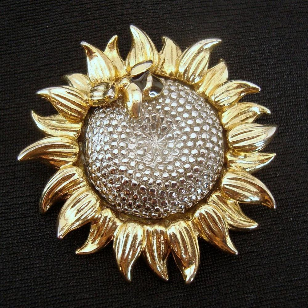 cc736859e Liz Claiborne Sunflower Brooch Pin Bee Gold Tone Silver Signed LC Lapel Hat  #LizClaiborne