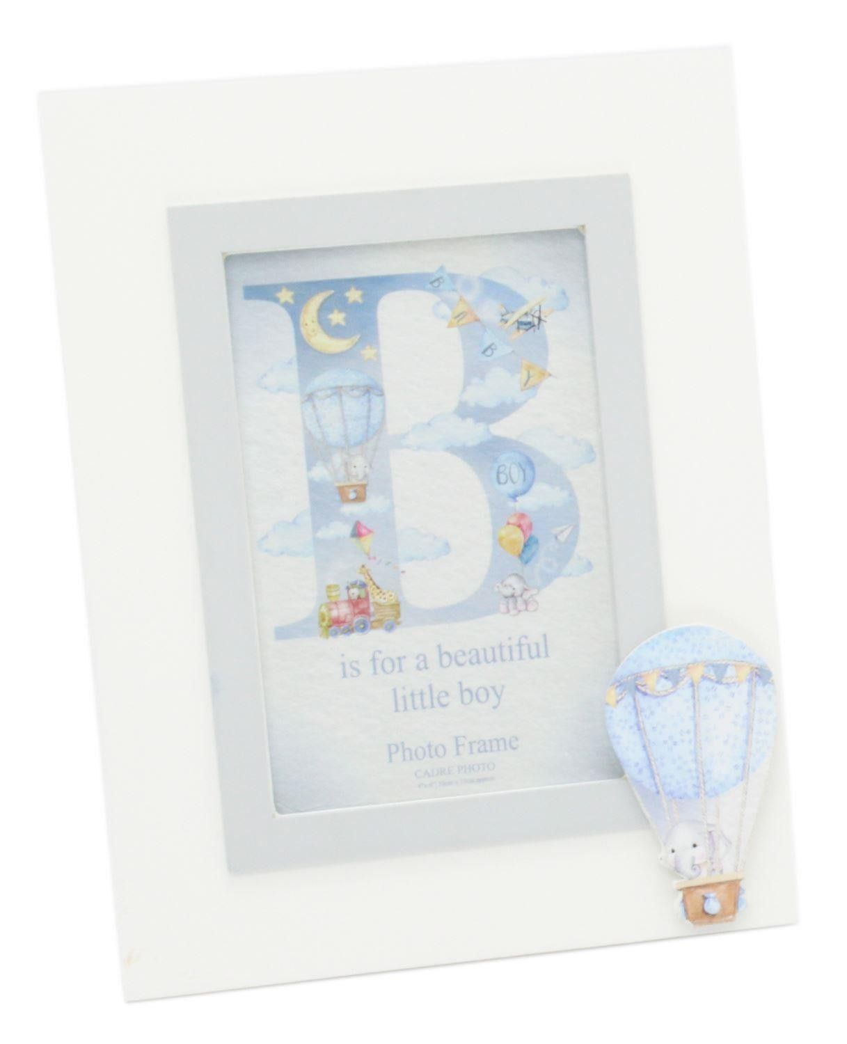 Carousel Home and Gifts Cute Wooden Elephant Baby Memory Picture Frame ~ Baby Photo Frame Blue