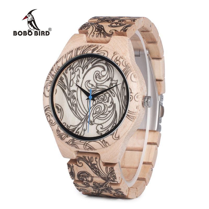 BOBO BIRD WO07 Pine Wooden Quartz Watches for Men UV