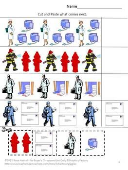 Community Helpers: People In Our Neighborhood Cut and Paste P-K, K, Special Education, Autism. This community helpers packet will help the student recognize the community helpers they see in their lives. People In Our Neighborhood consists of 17 worksheets that uses community helper graphics. It consists of the following. Color Matching What Comes Next Letter-upper case, low case Matching Shape Matching Number Matching Counting Addition Subtraction People in our neighbor