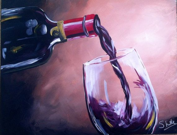 how to paint wine bottle and glass on canvas