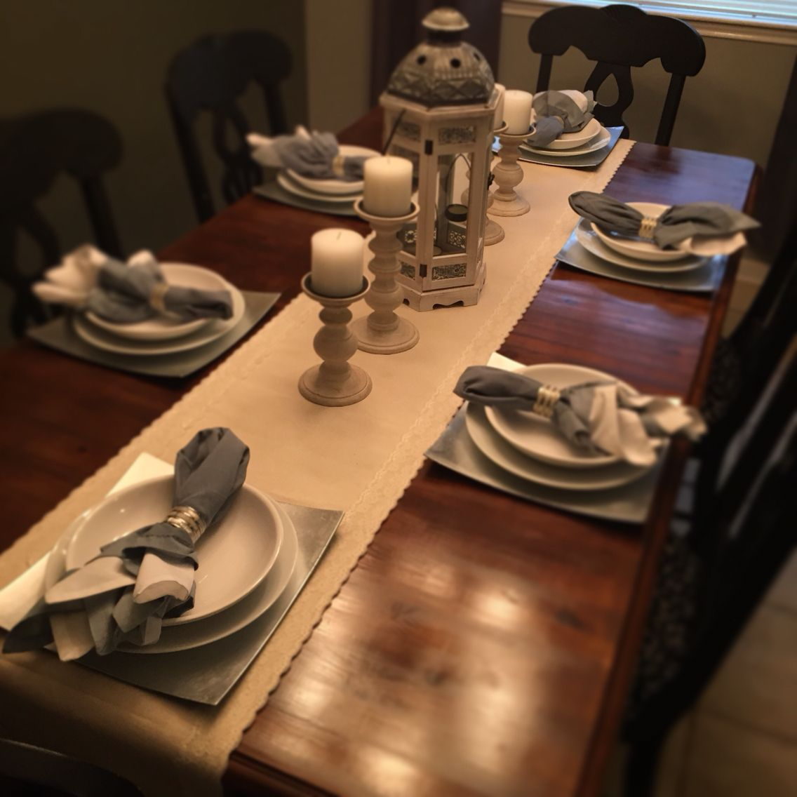 Formal Dining Room Table Decor Home Sewn Runner Charger Plates