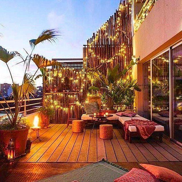 Espectacular Balcón Terraza Combinando Bambu Con Luces