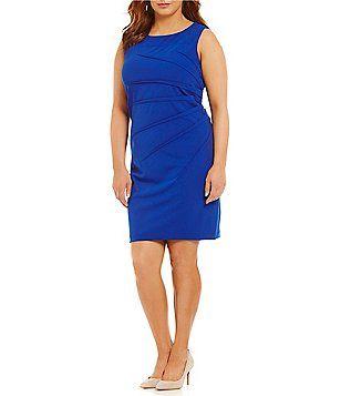 Calvin Klein Plus Starburst Side Ruched Dress Plus Dresses Casual Dresses Ruched Dress