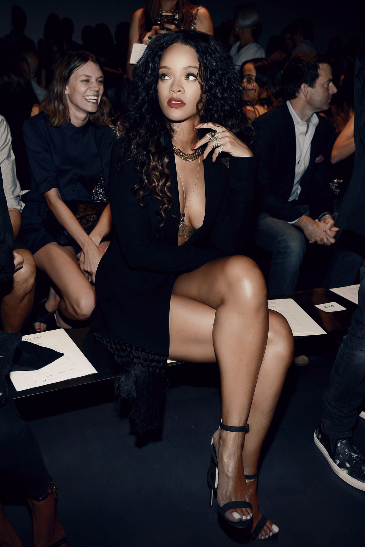 Black sandals rihanna - Rihanna Black Plunge Dress Strappy Black Sandals