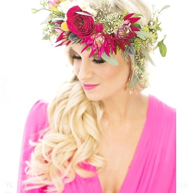 Long blond hair with floral crown
