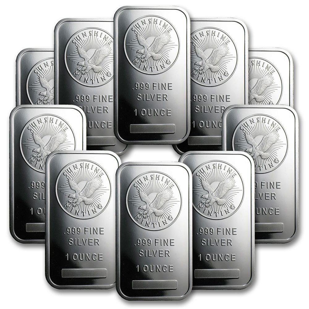 1 Oz Sunshine Silver Bars Lot Of 10 Sku 81530 Silver Bars Silver 10 Things