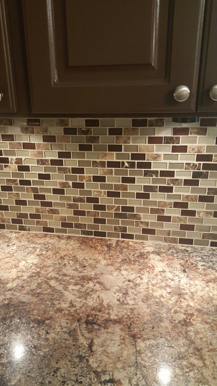 Sage Green And Brown Kitchen Backsplash Kitchens In 2019 Kitchen Backsplash