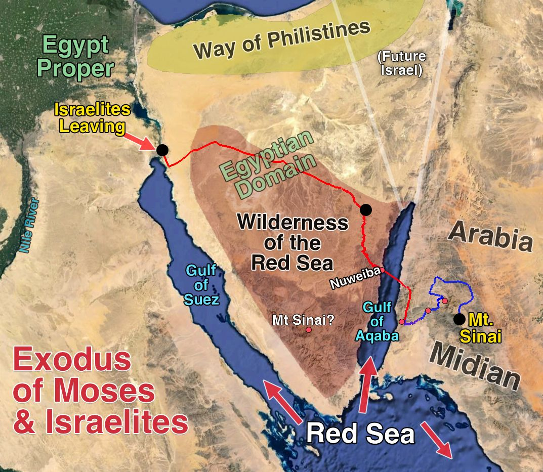Image result for map of the israelite crossing of the the red sea