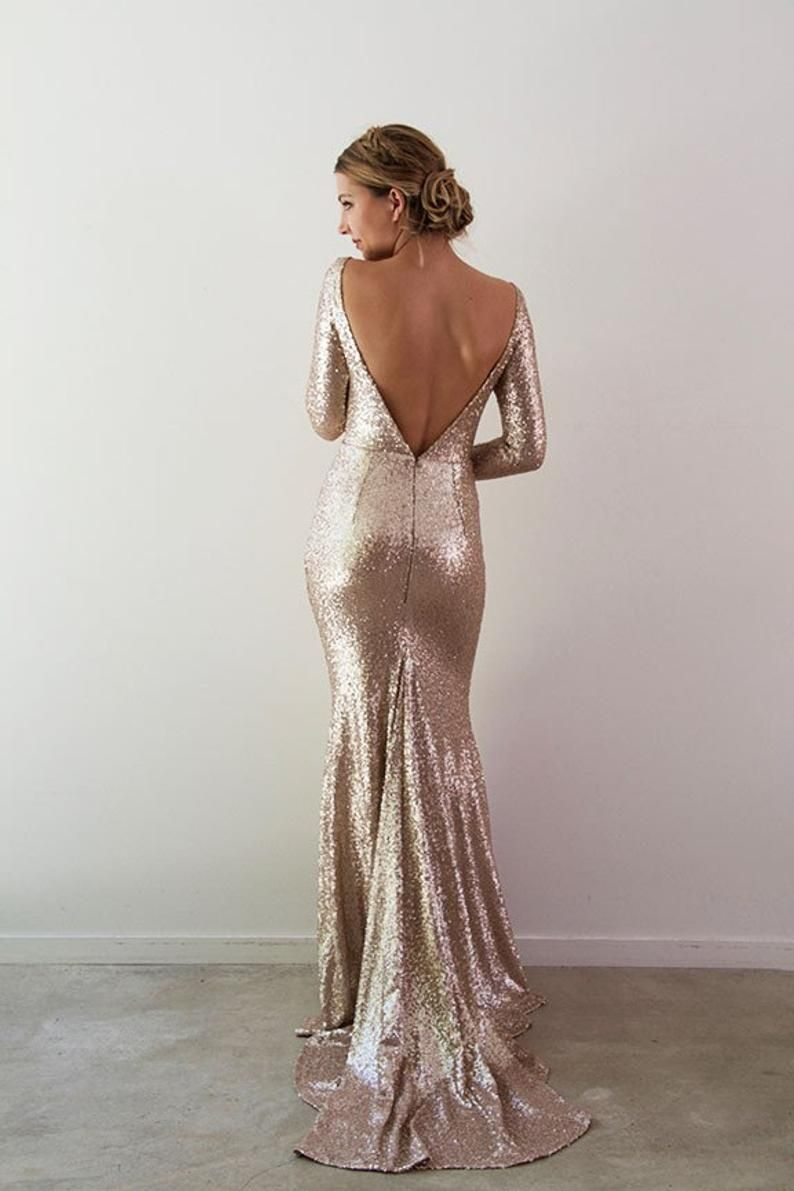 Rikki Gown Etsy In 2021 Sequins Wedding Gown Wedding Guest Dresses Long Long Sleeve Evening Gowns [ 1191 x 794 Pixel ]