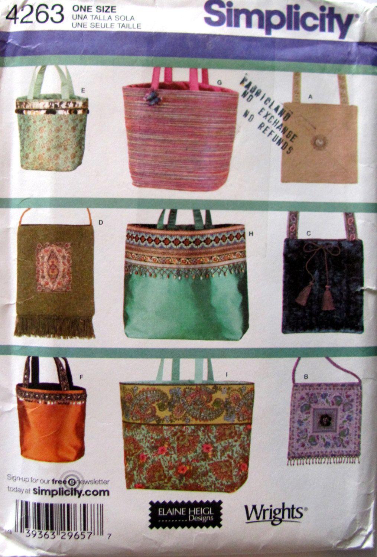 Simplicity 4263, Bags Sewing Pattern, Handbags Pattern, Tote Bag ...