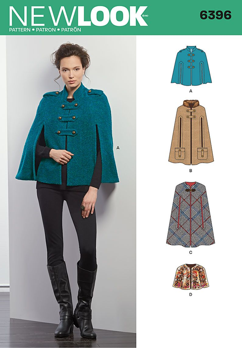 New Look 6396 Misses Cape | The Pattern Stash | Pinterest | Sewing ...