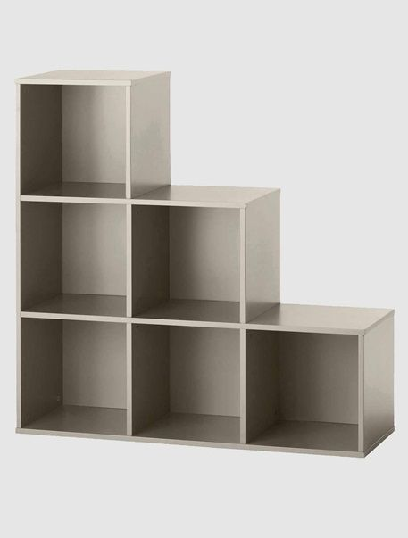 Meuble de rangement 6 cases en escalier blanc taupe for Meuble 6 cases blanc