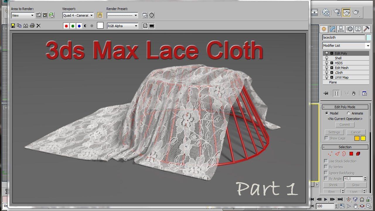 3ds Max Lace Cloth Tutorial 3ds Max 3ds Max Tutorials Photoshop Tutorials Youtube