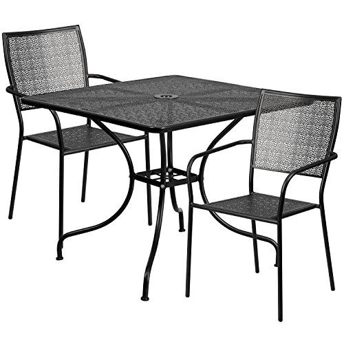 Flash Furniture 35 5 Square Black Indoor Outdoor Steel Patio Table