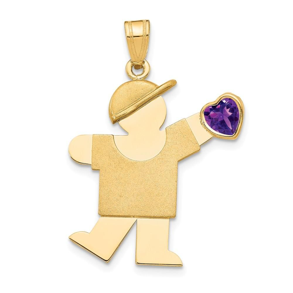 Small Girl Pendant Charm Violet February Created CZ Birthstone 14k Yellow Gold