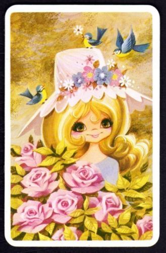 Vintage JOY Swap Card - Pretty Girl with Pink Roses (BLANK BACK)